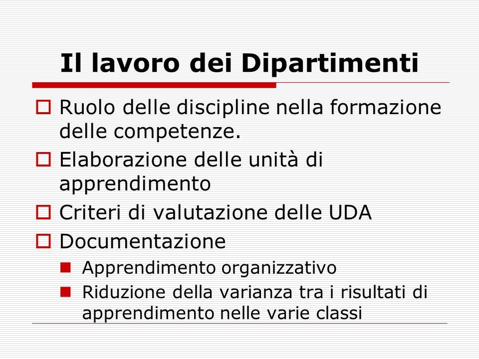 Il lavoro dei Dipartimenti Ruolo delle discipline nella formazione delle competenze.