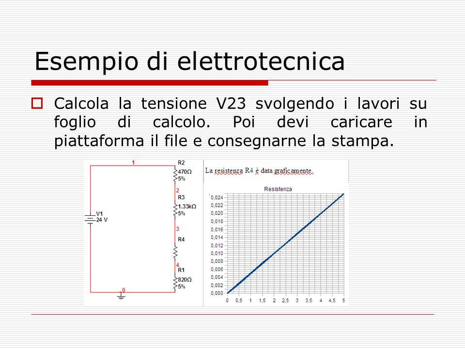 Esempio di elettrotecnica Calcola la tensione V23 svolgendo i lavori su foglio di calcolo.