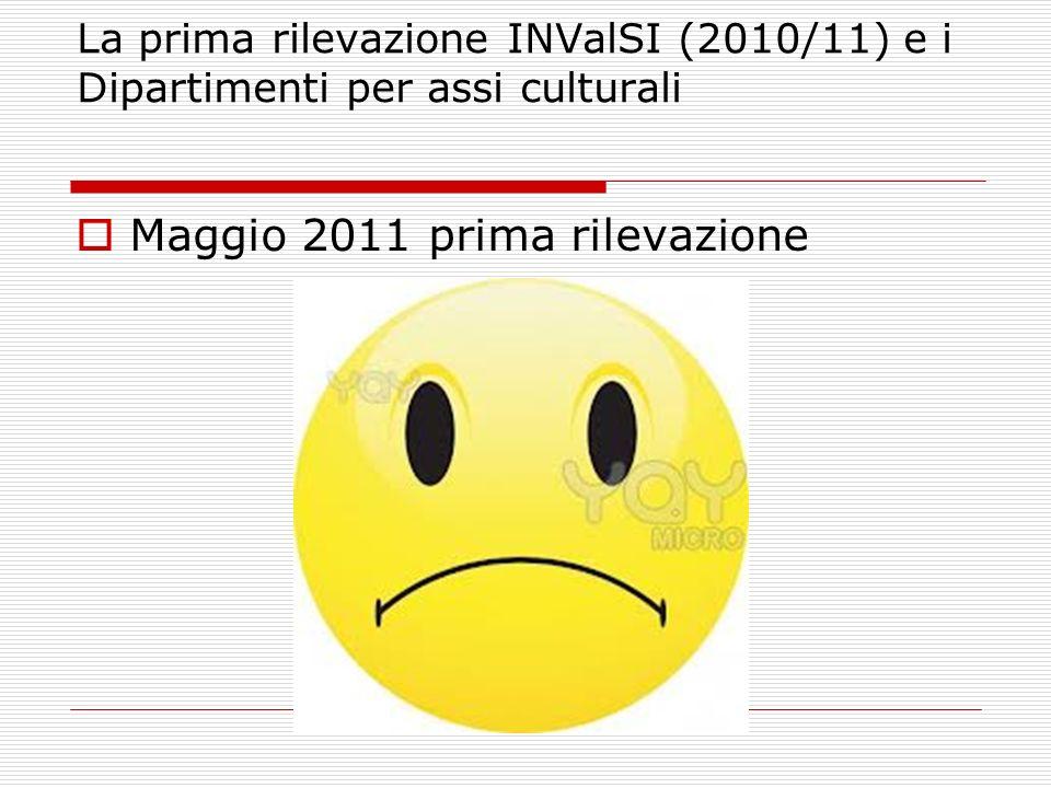 La prima rilevazione INValSI (2010/11) e i Dipartimenti per assi culturali Maggio 2011 prima rilevazione