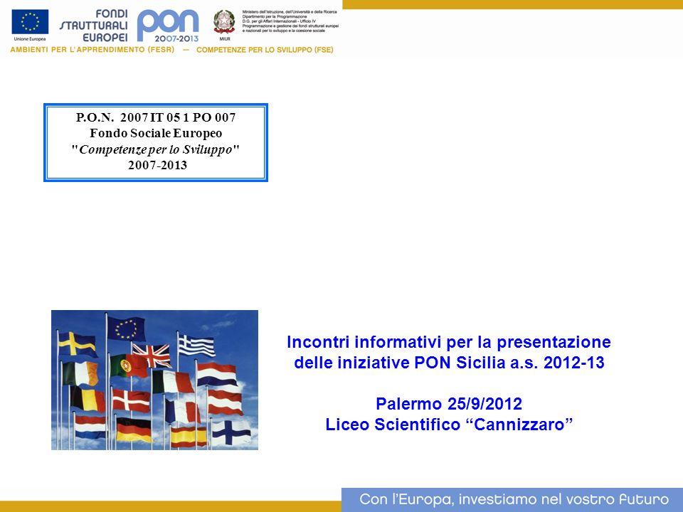 Incontri informativi per la presentazione delle iniziative PON Sicilia a.s. 2012-13 Palermo 25/9/2012 Liceo Scientifico Cannizzaro P.O.N. 2007 IT 05 1