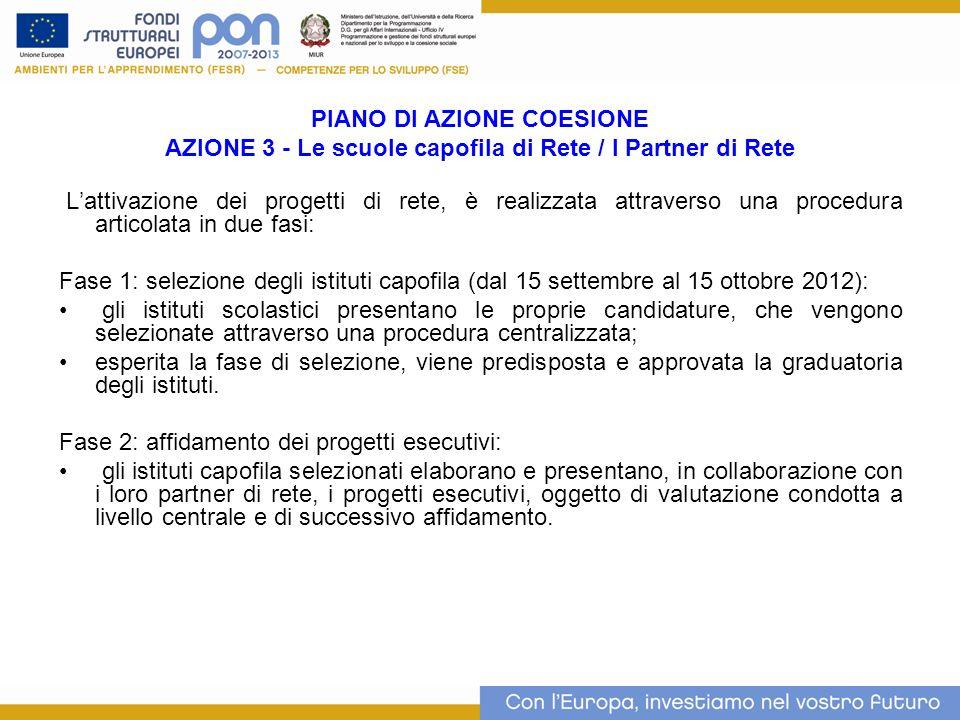 PIANO DI AZIONE COESIONE AZIONE 3 - Le scuole capofila di Rete / I Partner di Rete Lattivazione dei progetti di rete, è realizzata attraverso una proc