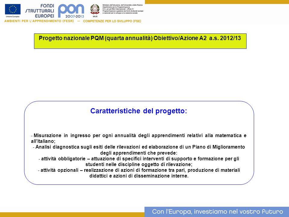 Progetto nazionale PQM (quarta annualità) Obiettivo/Azione A2 a.s.