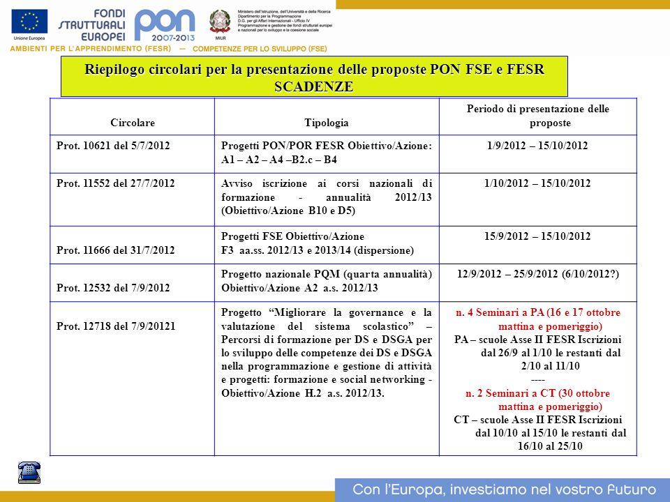 Riepilogo circolari per la presentazione delle proposte PON FSE e FESR SCADENZE CircolareTipologia Periodo di presentazione delle proposte Prot. 10621