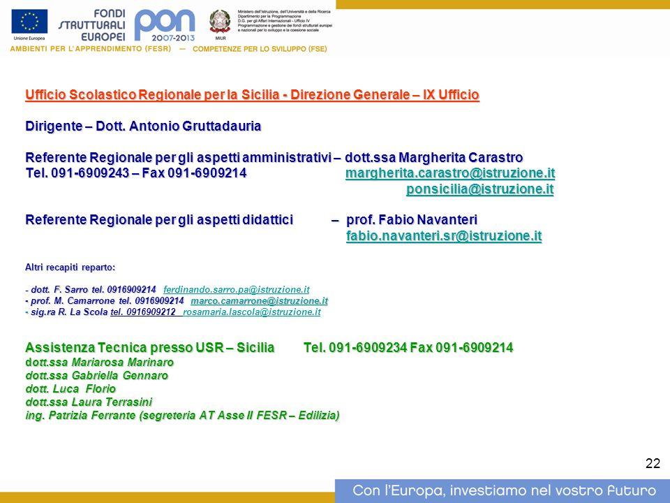 22 Ufficio Scolastico Regionale per la Sicilia - Direzione Generale – IX Ufficio Dirigente – Dott. Antonio Gruttadauria Referente Regionale per gli as