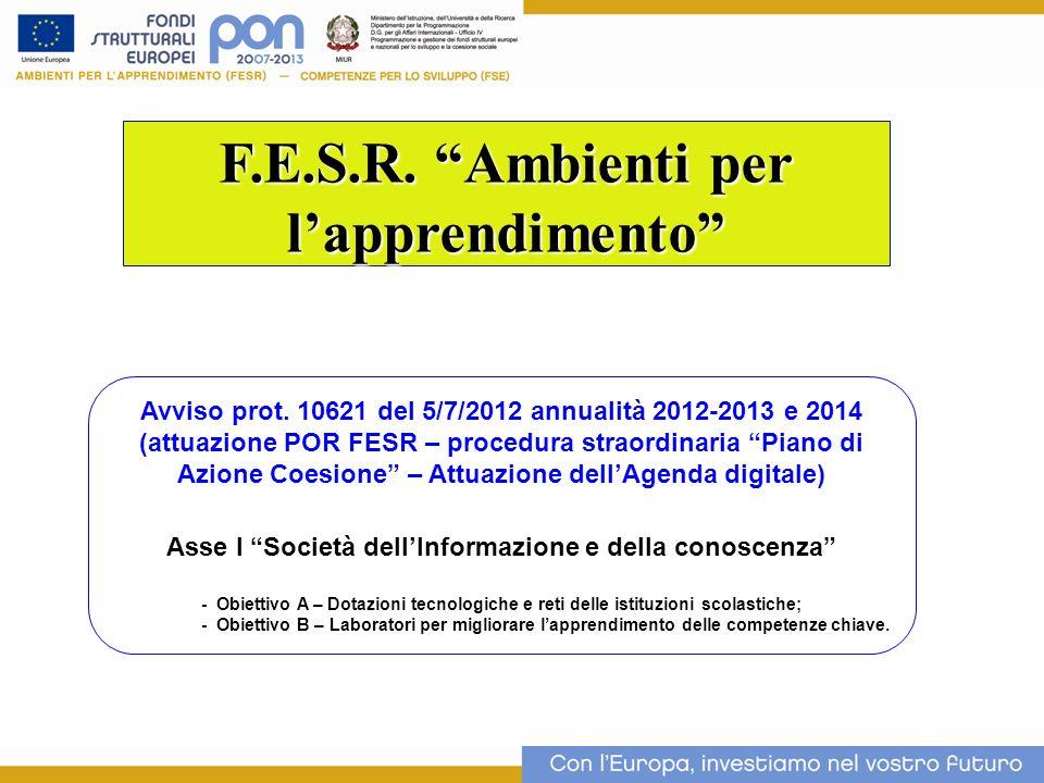 F.E.S.R. Ambienti per lapprendimento Avviso prot. 10621 del 5/7/2012 annualità 2012-2013 e 2014 (attuazione POR FESR – procedura straordinaria Piano d
