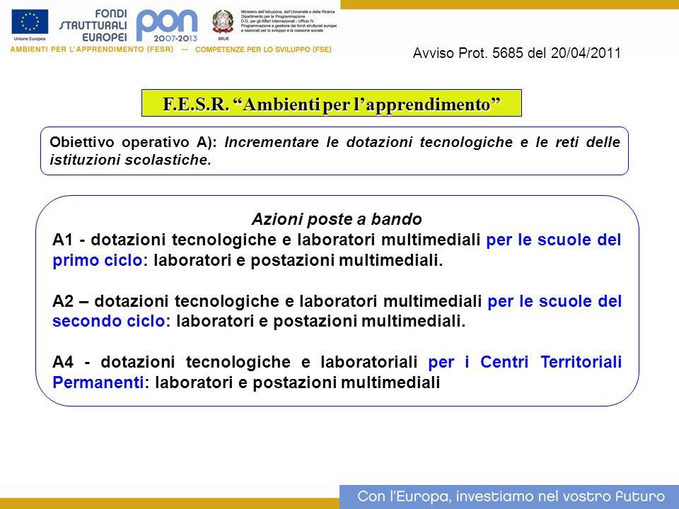 Avviso Prot. 5685 del 20/04/2011 F.E.S.R. Ambienti per lapprendimento Obiettivo operativo A): Incrementare le dotazioni tecnologiche e le reti delle i