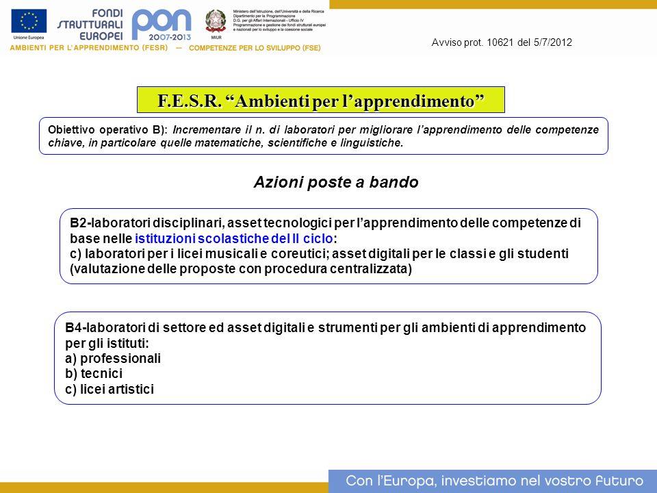 Avviso prot. 10621 del 5/7/2012 F.E.S.R. Ambienti per lapprendimento Obiettivo operativo B): Incrementare il n. di laboratori per migliorare lapprendi