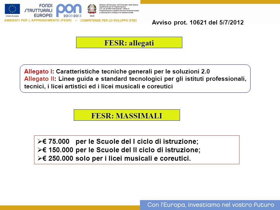 FESR: allegati Allegato I: Caratteristiche tecniche generali per le soluzioni 2.0 Allegato II: Linee guida e standard tecnologici per gli istituti pro