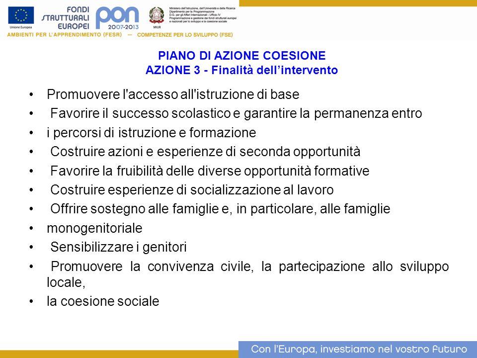 PIANO DI AZIONE COESIONE AZIONE 3 - Finalità dellintervento Promuovere l'accesso all'istruzione di base Favorire il successo scolastico e garantire la