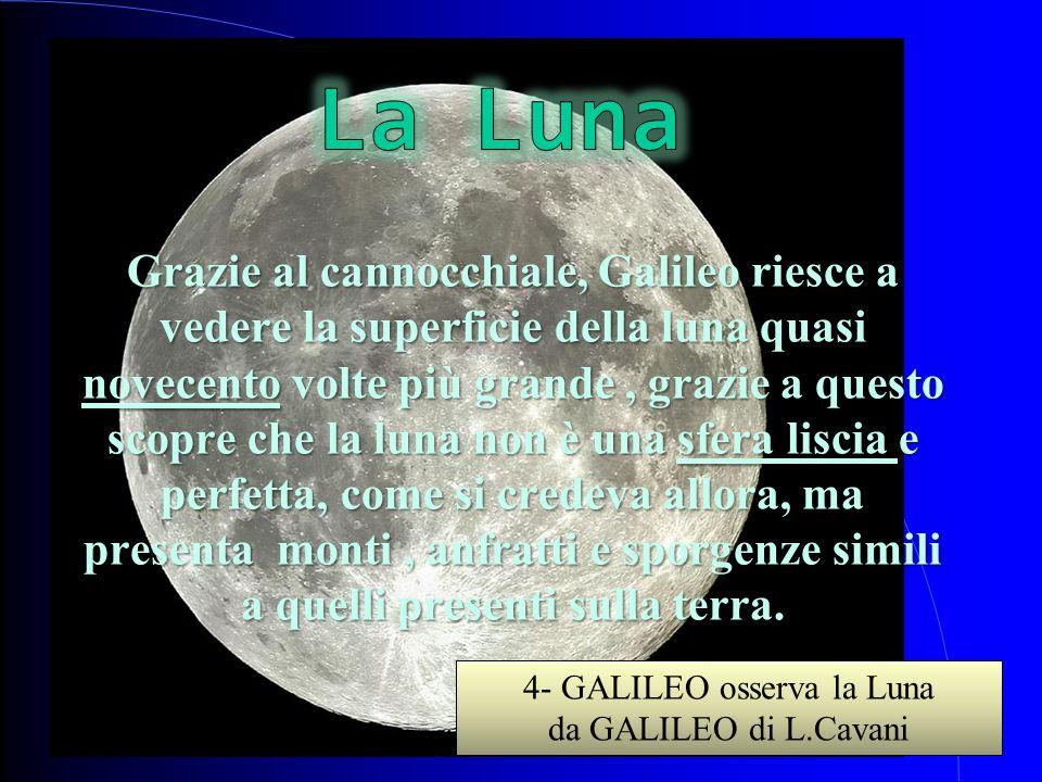 Grazie al cannocchiale, Galileo riesce a vedere la superficie della luna quasi novecento volte più grande, grazie a questo scopre che la luna non è un