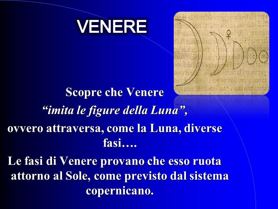 Scopre che Venere imita le figure della Luna, ovvero attraversa, come la Luna, diverse fasi…. Le fasi di Venere provano che esso ruota attorno al Sole