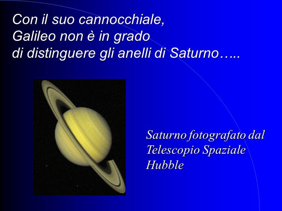 Saturno fotografato dal Telescopio Spaziale Hubble Con il suo cannocchiale, Galileo non è in grado di distinguere gli anelli di Saturno…..
