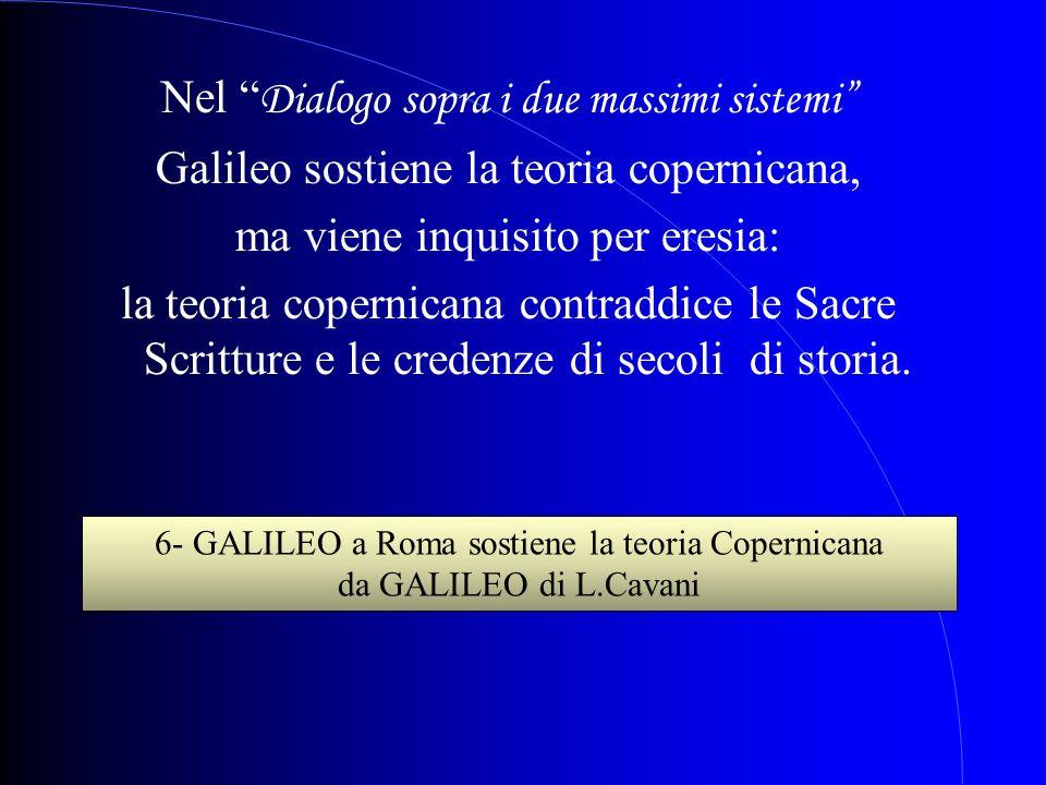 Nel Dialogo sopra i due massimi sistemi Galileo sostiene la teoria copernicana, ma viene inquisito per eresia: la teoria copernicana contraddice le Sa