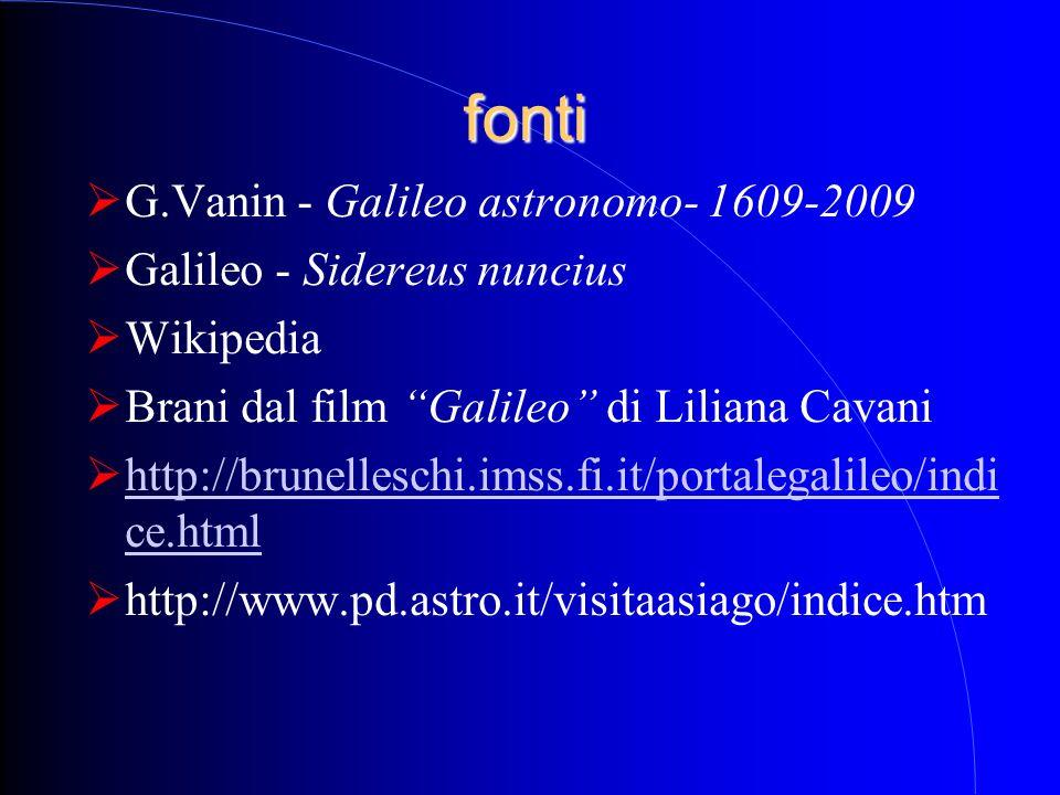 fonti G.Vanin - Galileo astronomo- 1609-2009 Galileo - Sidereus nuncius Wikipedia Brani dal film Galileo di Liliana Cavani http://brunelleschi.imss.fi
