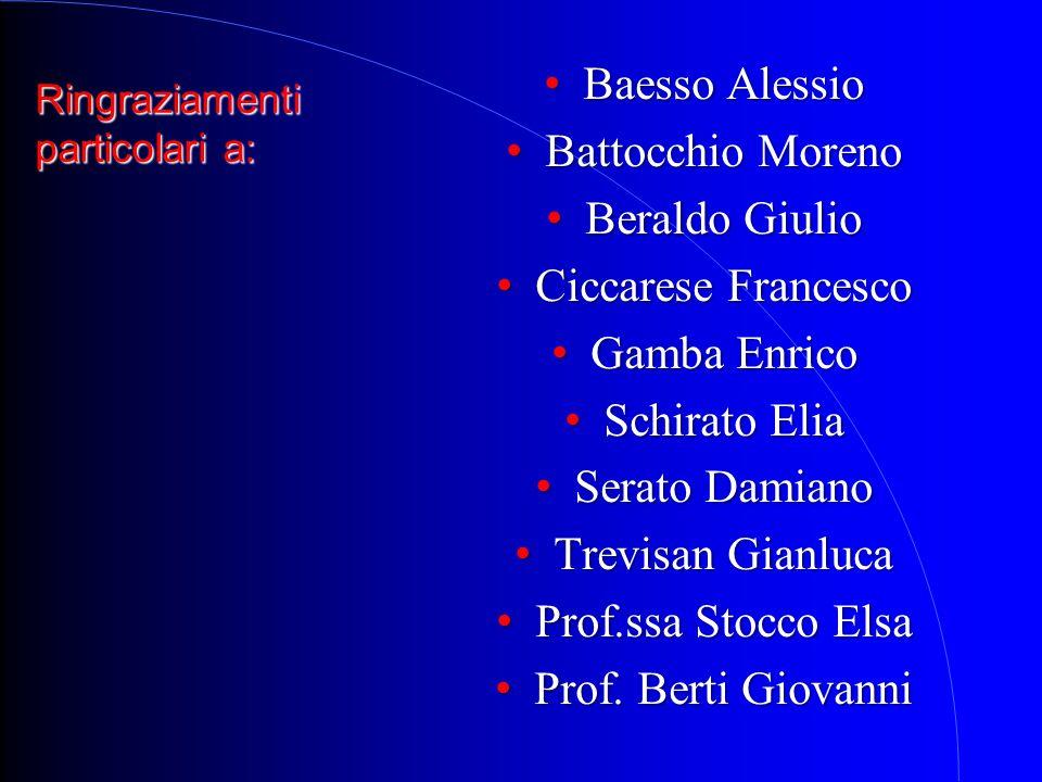Ringraziamenti particolari a: Baesso Alessio Baesso Alessio Battocchio Moreno Battocchio Moreno Beraldo Giulio Beraldo Giulio Ciccarese Francesco Cicc