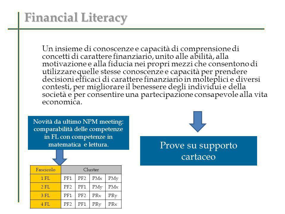 Financial Literacy Un insieme di conoscenze e capacità di comprensione di concetti di carattere finanziario, unito alle abilità, alla motivazione e al