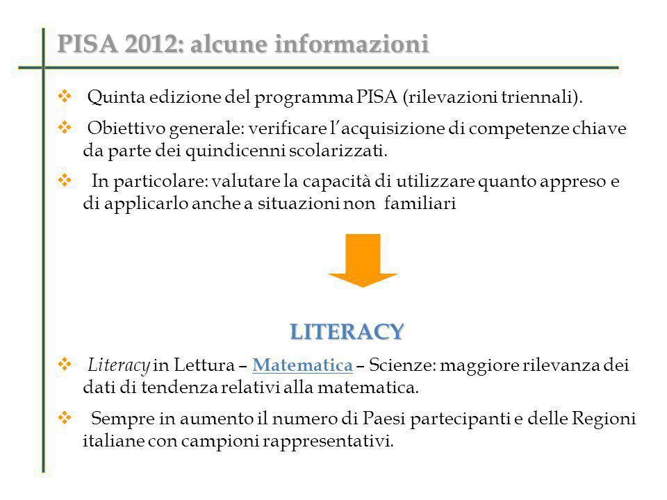 PISA 2012: alcune informazioni 34 paesi dellOCSE Pisa 2000 35 paesi Pisa 2012 66 paesi Pisa 2012 66 paesi Pisa 2003 41 paesi Pisa 2006 58 paesi Pisa 2009 65 paesi Dal ciclo PISA 2009, ulteriori 9 paesi partner partecipano a PISA con una rilevazione speciale chiamata PISA2009+