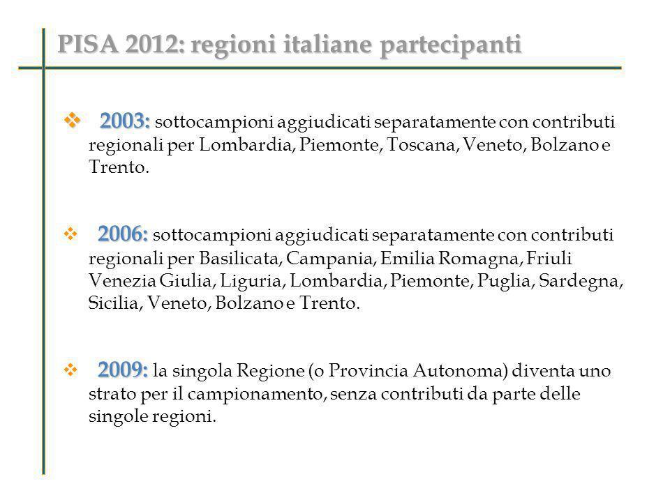 PISA 2012: regioni italiane partecipanti 2003: 2003: sottocampioni aggiudicati separatamente con contributi regionali per Lombardia, Piemonte, Toscana