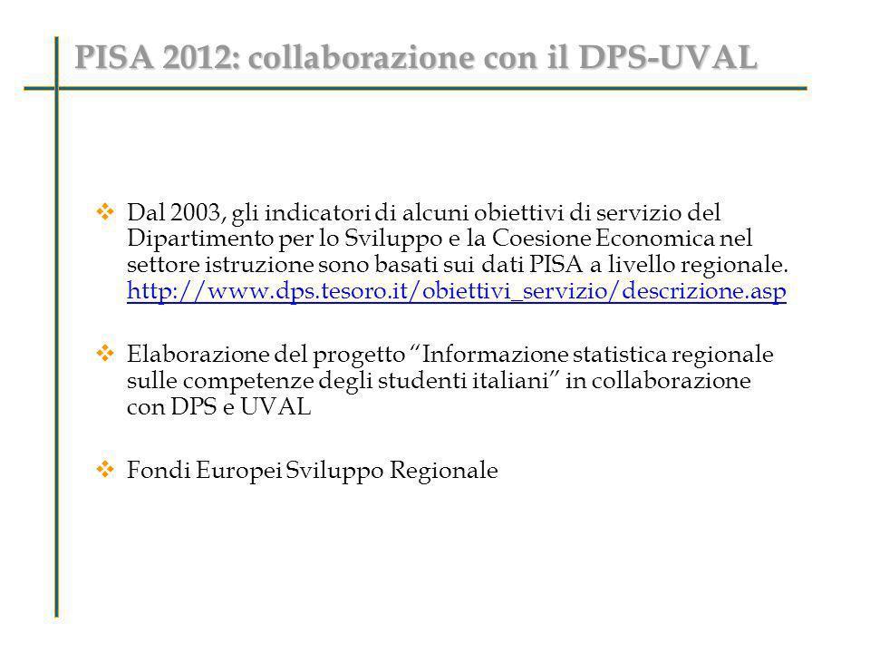 PISA 2012: collaborazione con il DPS-UVAL Dal 2003, gli indicatori di alcuni obiettivi di servizio del Dipartimento per lo Sviluppo e la Coesione Econ