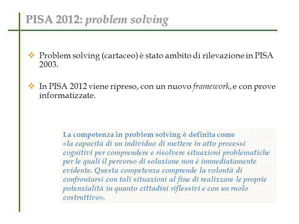PISA 2012: problem solving Problem solving (cartaceo) è stato ambito di rilevazione in PISA 2003. In PISA 2012 viene ripreso, con un nuovo framework,