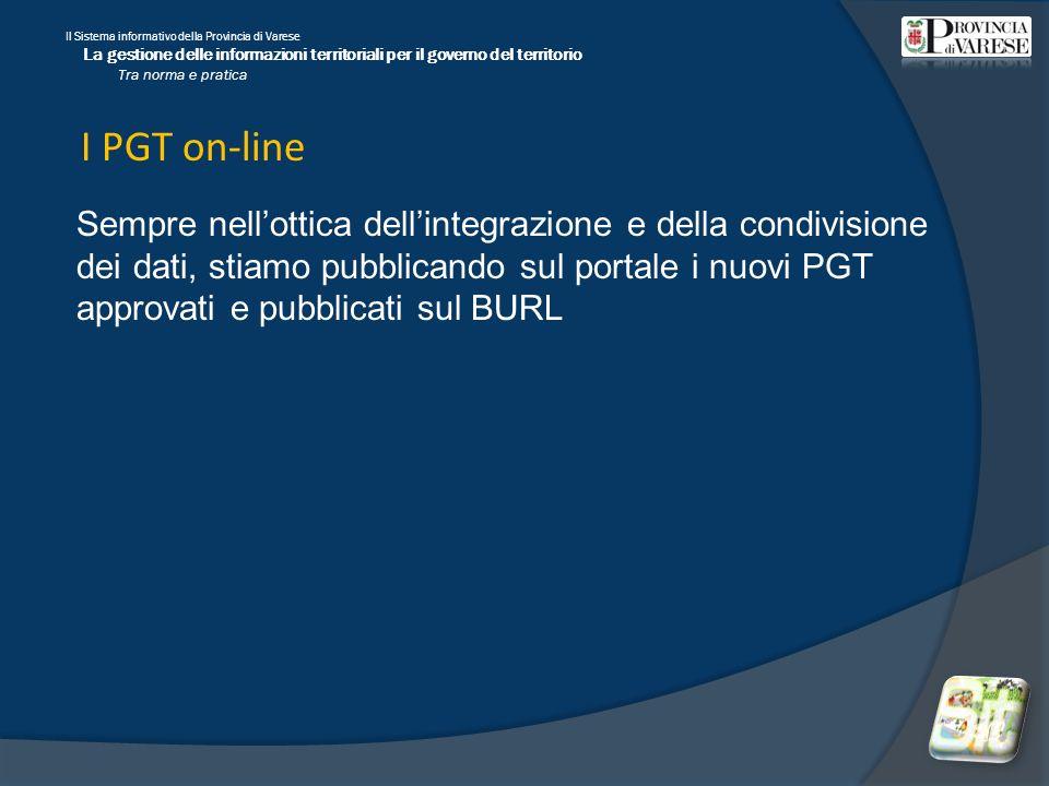 Il Sistema informativo della Provincia di Varese La gestione delle informazioni territoriali per il governo del territorio Tra norma e pratica I PGT on-line Sempre nellottica dellintegrazione e della condivisione dei dati, stiamo pubblicando sul portale i nuovi PGT approvati e pubblicati sul BURL