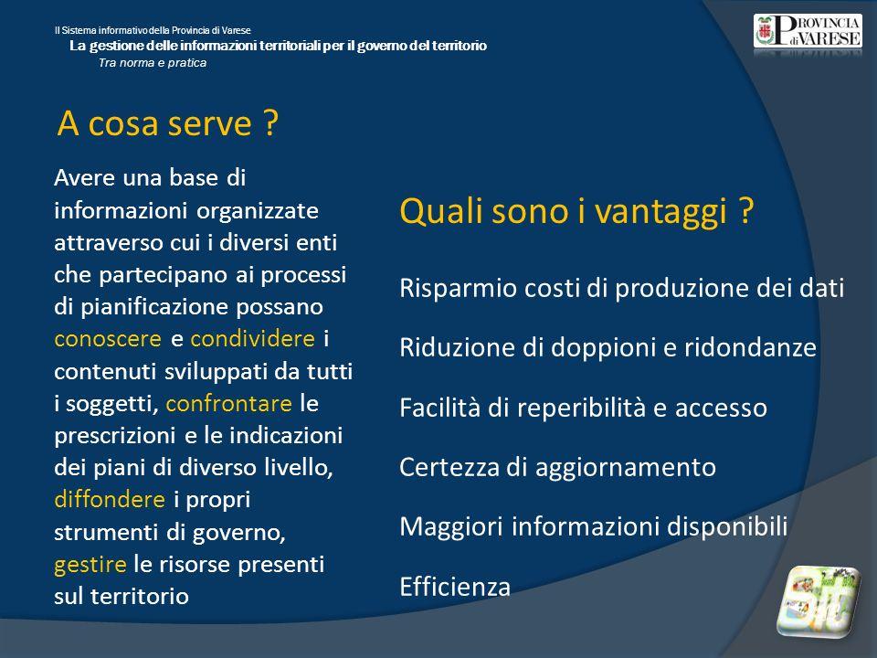 Il Sistema informativo della Provincia di Varese La gestione delle informazioni territoriali per il governo del territorio Tra norma e pratica A cosa serve .