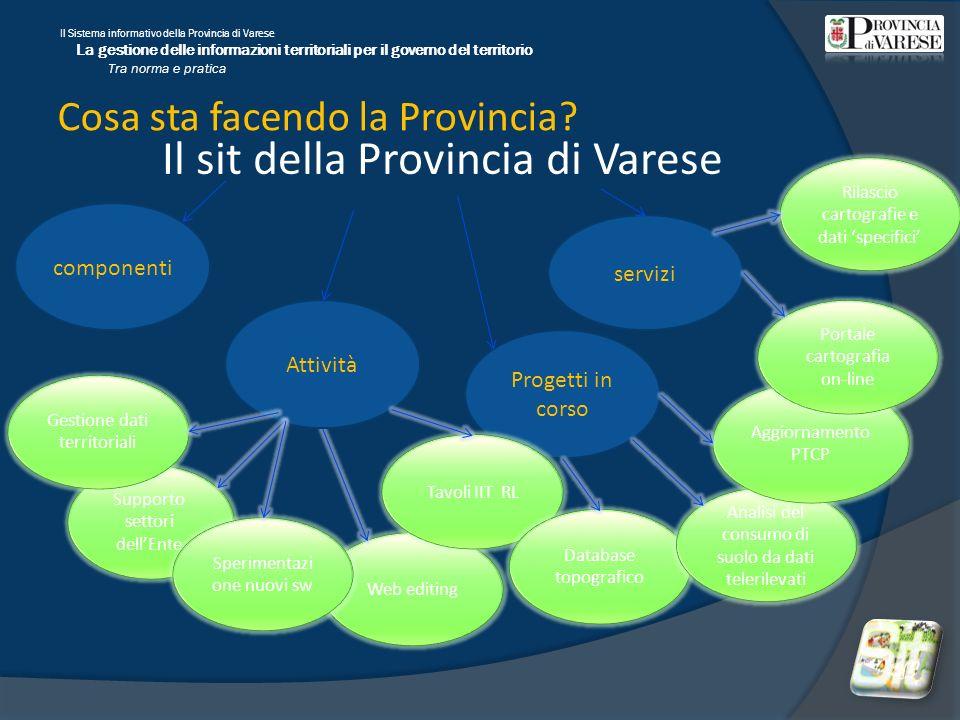 Il Sistema informativo della Provincia di Varese La gestione delle informazioni territoriali per il governo del territorio Tra norma e pratica Web editing Il sit della Provincia di Varese Cosa sta facendo la Provincia.