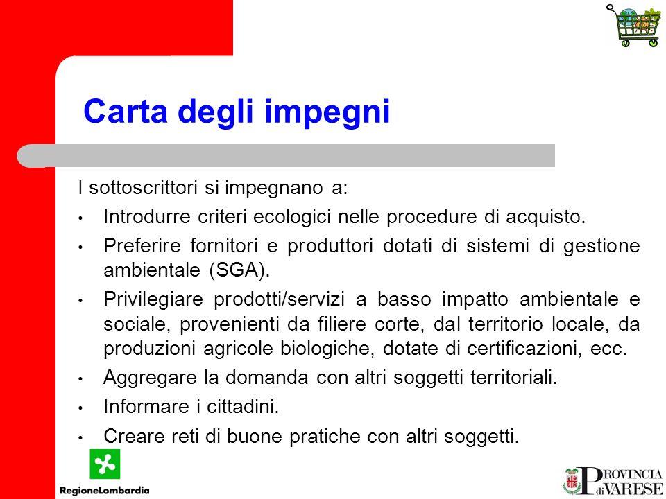 Carta degli impegni I sottoscrittori si impegnano a: Introdurre criteri ecologici nelle procedure di acquisto.