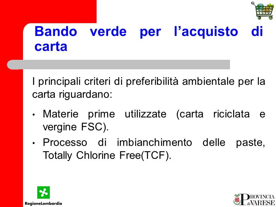 Bando verde per lacquisto di carta I principali criteri di preferibilità ambientale per la carta riguardano: Materie prime utilizzate (carta riciclata e vergine FSC).