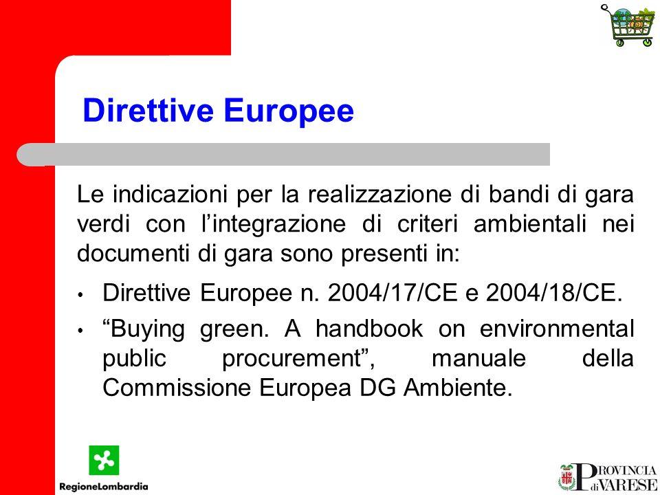 Direttive Europee Direttive Europee n. 2004/17/CE e 2004/18/CE.