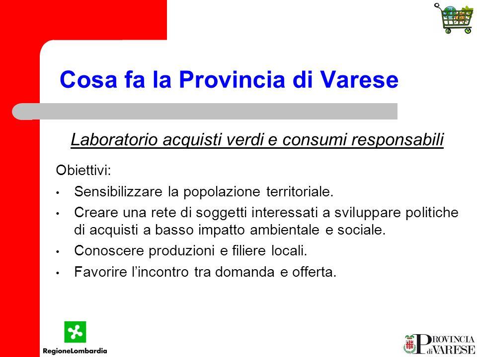 Cosa fa la Provincia di Varese Laboratorio acquisti verdi e consumi responsabili Obiettivi: Sensibilizzare la popolazione territoriale.