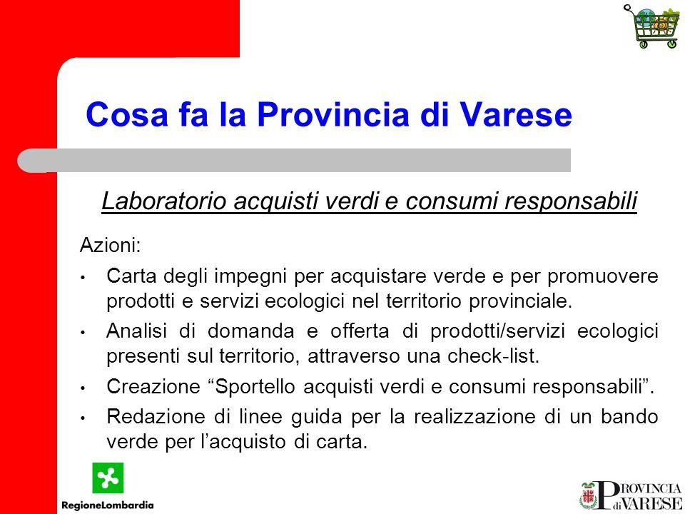 Cosa fa la Provincia di Varese Laboratorio acquisti verdi e consumi responsabili Azioni: Carta degli impegni per acquistare verde e per promuovere prodotti e servizi ecologici nel territorio provinciale.
