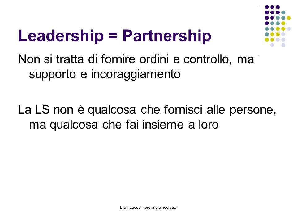 L.Barausse - proprietà riservata Leadership = Partnership Non si tratta di fornire ordini e controllo, ma supporto e incoraggiamento La LS non è qualcosa che fornisci alle persone, ma qualcosa che fai insieme a loro