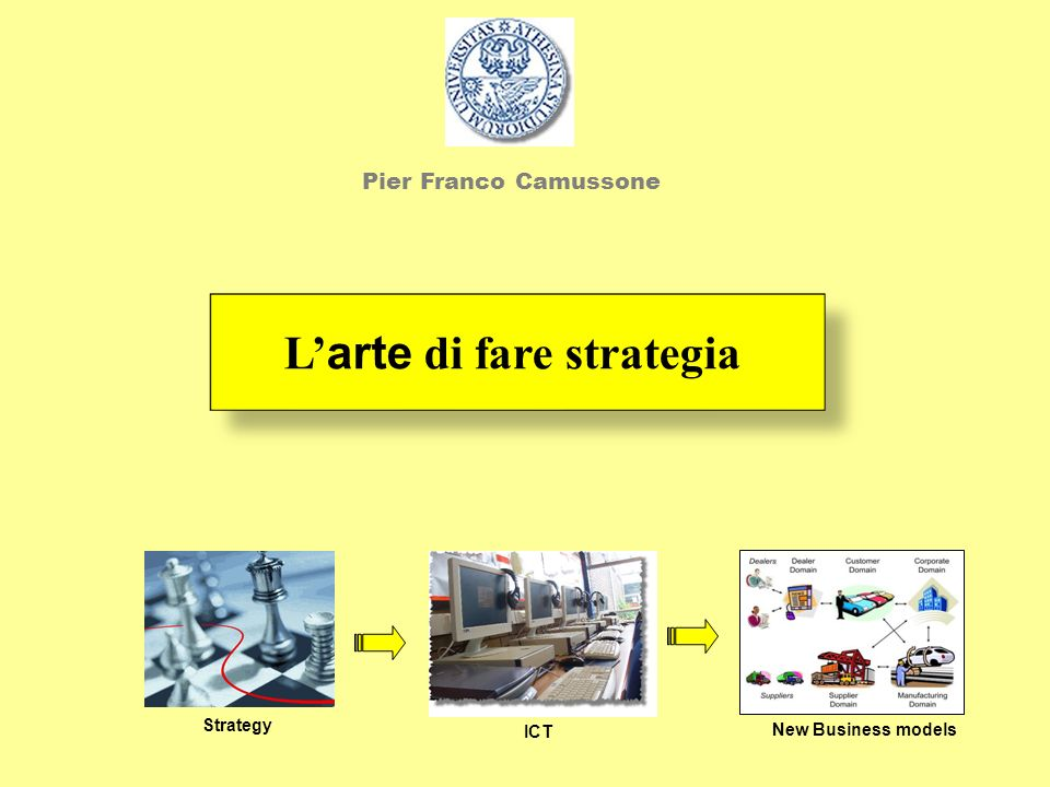 L arte di fare strategia Strategy ICT New Business models Pier Franco Camussone