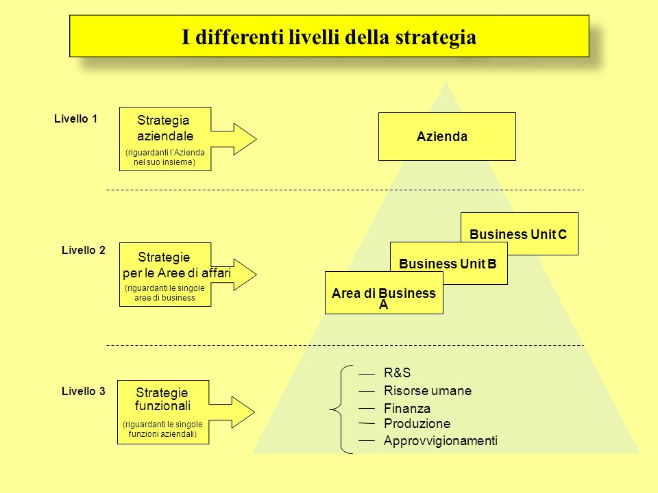 I differenti livelli della strategia Business Unit C Business Unit B Azienda Area di Business A R&S Risorse umane Finanza Produzione Approvvigionament