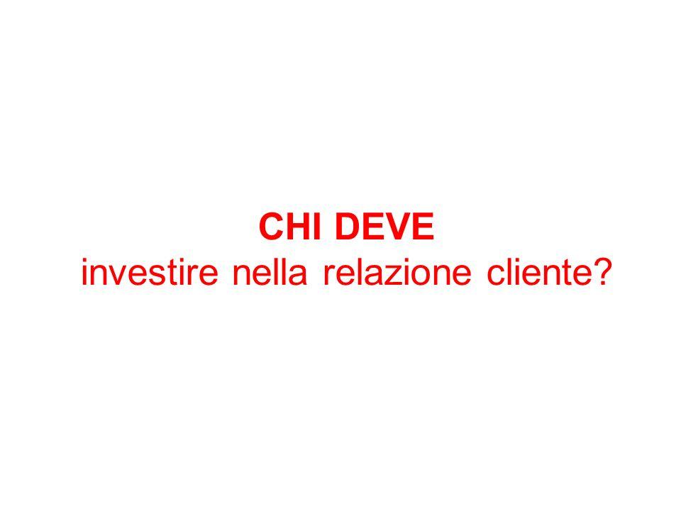 CHI DEVE investire nella relazione cliente?