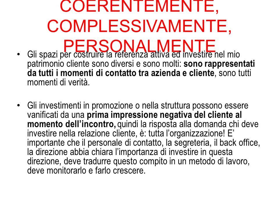 COERENTEMENTE, COMPLESSIVAMENTE, PERSONALMENTE Gli spazi per costruire la referenza attiva ed investire nel mio patrimonio cliente sono diversi e sono