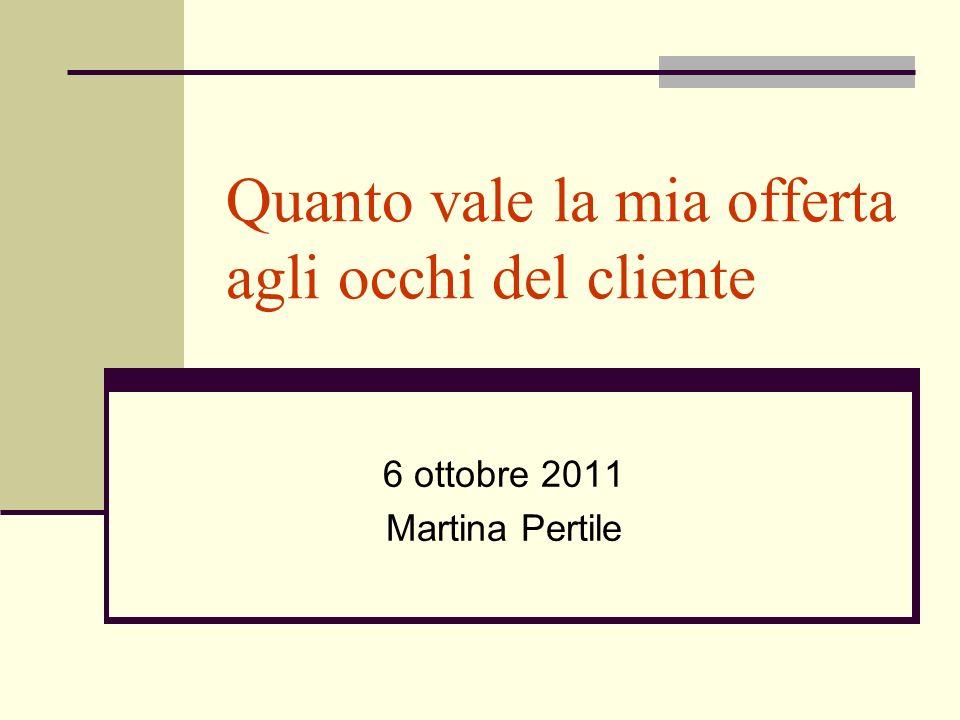 Quanto vale la mia offerta agli occhi del cliente 6 ottobre 2011 Martina Pertile