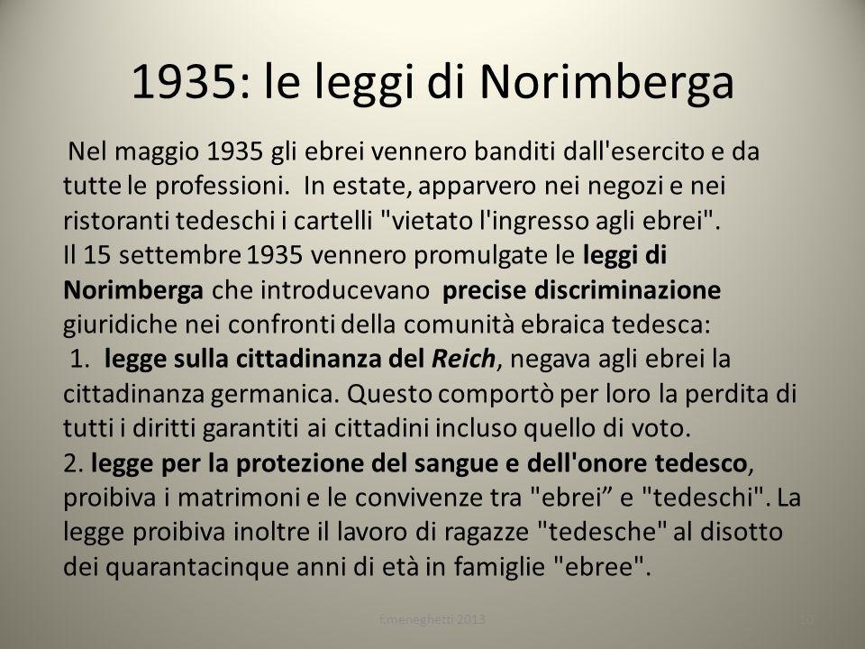 1935: le leggi di Norimberga Nel maggio 1935 gli ebrei vennero banditi dall'esercito e da tutte le professioni. In estate, apparvero nei negozi e nei