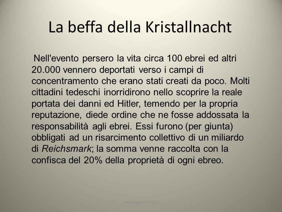 La beffa della Kristallnacht Nell'evento persero la vita circa 100 ebrei ed altri 20.000 vennero deportati verso i campi di concentramento che erano s