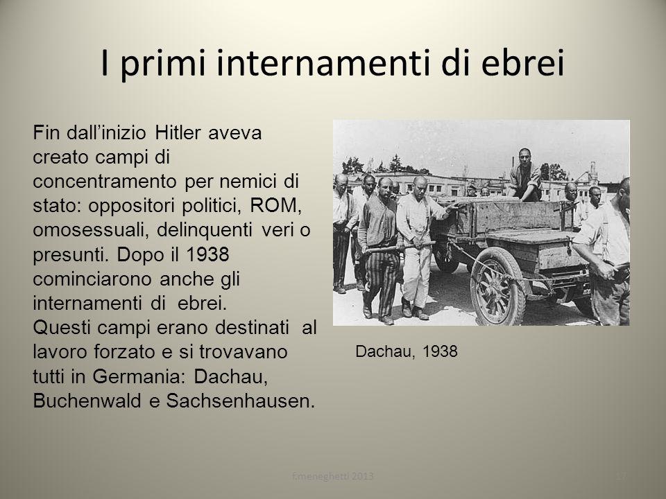 I primi internamenti di ebrei f.meneghetti 201317 Fin dallinizio Hitler aveva creato campi di concentramento per nemici di stato: oppositori politici,