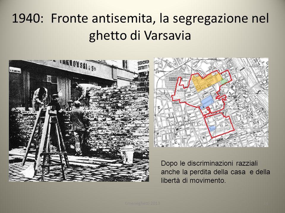 1940: Fronte antisemita, la segregazione nel ghetto di Varsavia 24f.meneghetti 2013 Dopo le discriminazioni razziali anche la perdita della casa e del