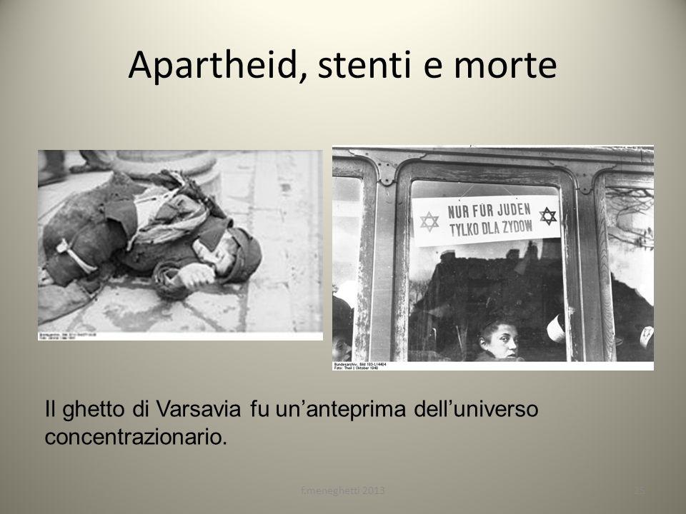 Apartheid, stenti e morte 25f.meneghetti 2013 Il ghetto di Varsavia fu unanteprima delluniverso concentrazionario.