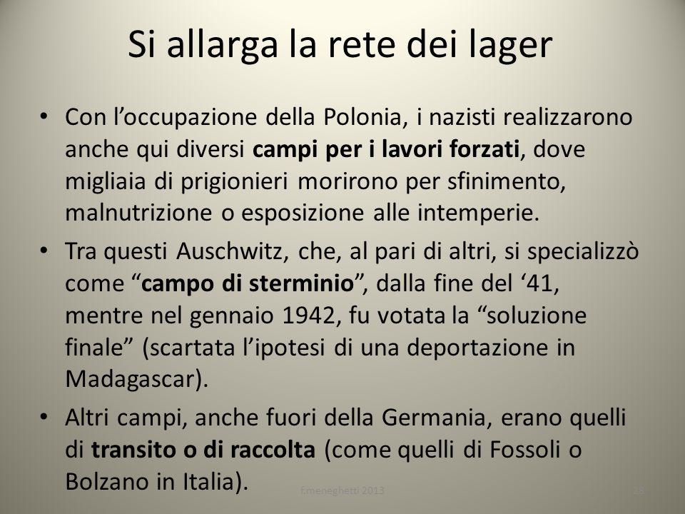 Si allarga la rete dei lager Con loccupazione della Polonia, i nazisti realizzarono anche qui diversi campi per i lavori forzati, dove migliaia di pri