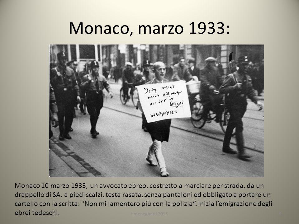 Monaco, marzo 1933: Monaco 10 marzo 1933, un avvocato ebreo, costretto a marciare per strada, da un drappello di SA, a piedi scalzi, testa rasata, sen