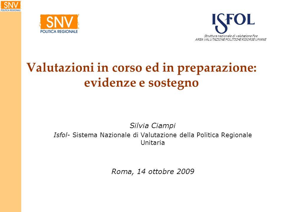Valutazioni in corso ed in preparazione: evidenze e sostegno Silvia Ciampi Isfol- Sistema Nazionale di Valutazione della Politica Regionale Unitaria R