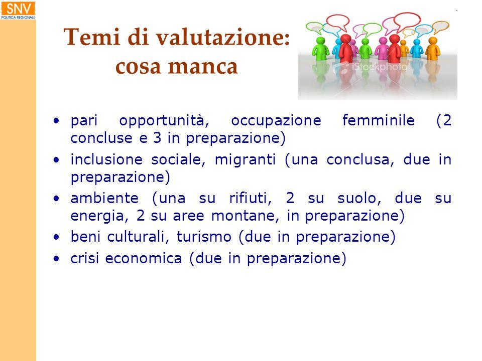 Temi di valutazione: cosa manca pari opportunità, occupazione femminile (2 concluse e 3 in preparazione) inclusione sociale, migranti (una conclusa, d