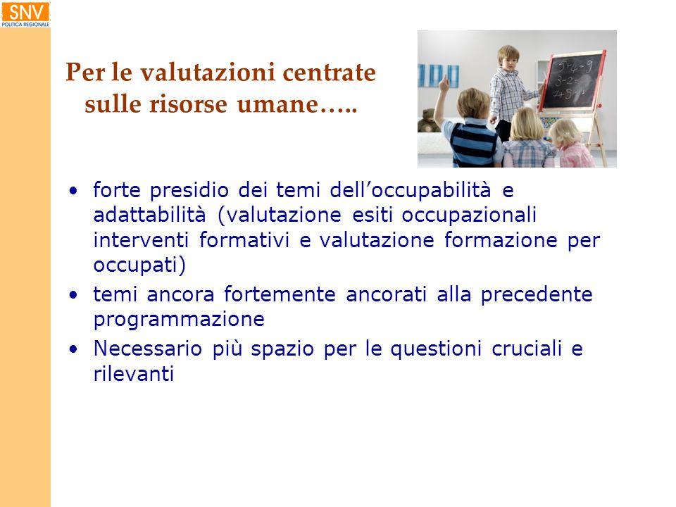 Per le valutazioni centrate sulle risorse umane….. forte presidio dei temi delloccupabilità e adattabilità (valutazione esiti occupazionali interventi
