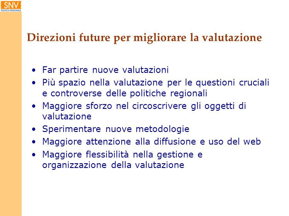 Direzioni future per migliorare la valutazione Far partire nuove valutazioni Più spazio nella valutazione per le questioni cruciali e controverse dell