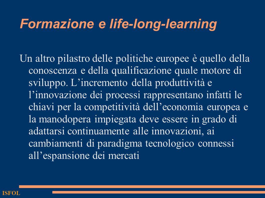 Formazione e life-long-learning Un altro pilastro delle politiche europee è quello della conoscenza e della qualificazione quale motore di sviluppo. L